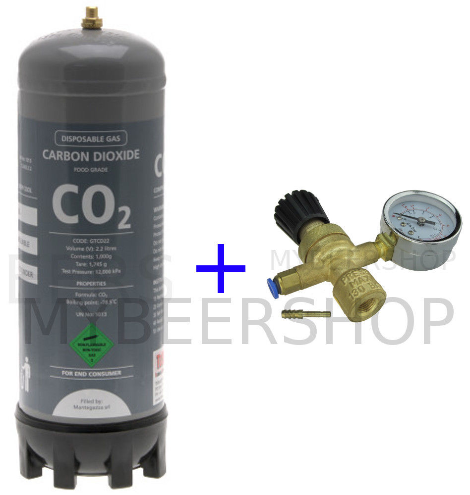 2.2L CARBON DIOXIDE BOTTLE & DISPOSABLE REGULATOR